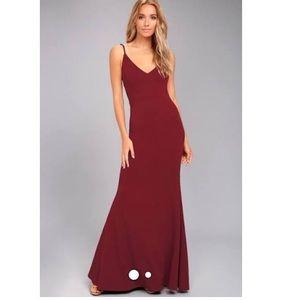 LULU Wine Red mermaid evening maxi gown dress M 6